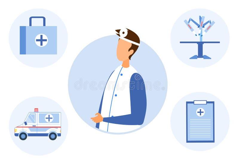医生和工具为治疗观察的患者 皇族释放例证