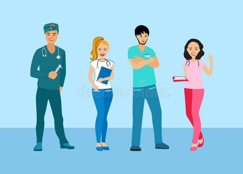 医生和护士制服的 有一位医疗专家的人们 医疗人员 库存例证
