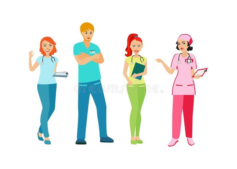 医生和护士制服的 有医疗业的人们 医疗人员 在白色背景的被隔绝的象 传染媒介illustra 向量例证