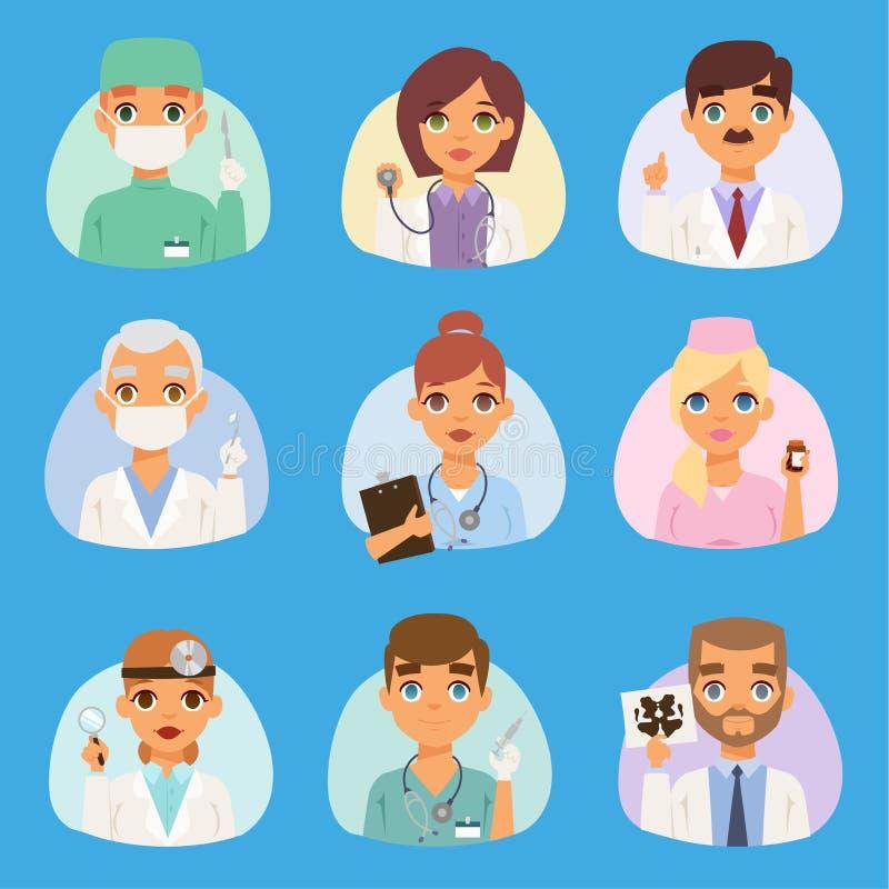 医生和护士医护人员传染媒介人 画象医疗队篡改在平的设计动画片的专家概念 向量例证