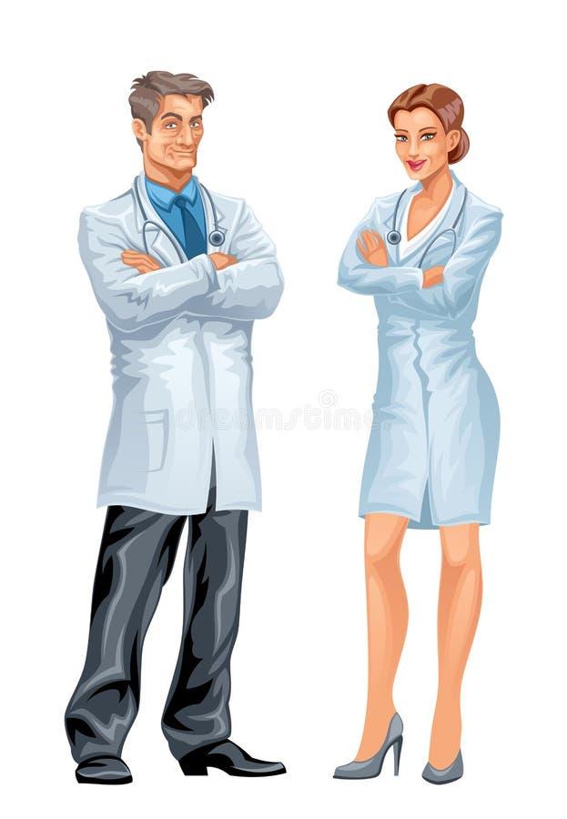 医生和护士 库存例证