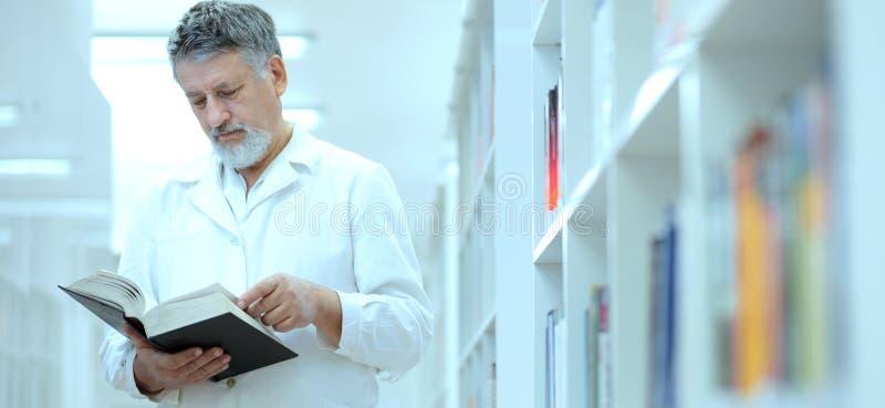 医生图书馆显耀的科学家 免版税库存图片