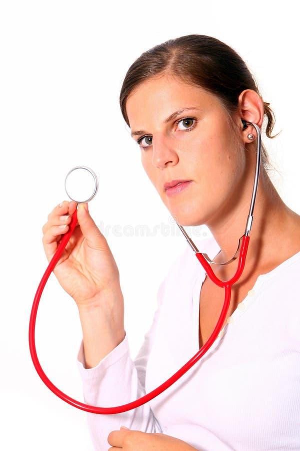 医生女性听诊器年轻人 库存照片