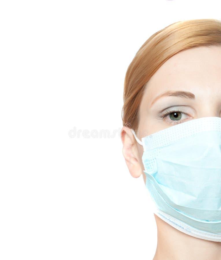 医生女性屏蔽佩带 免版税图库摄影