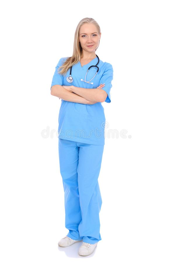 医生妇女或护士被隔绝在白色背景 快乐的微笑的医护人员代表 r 库存图片