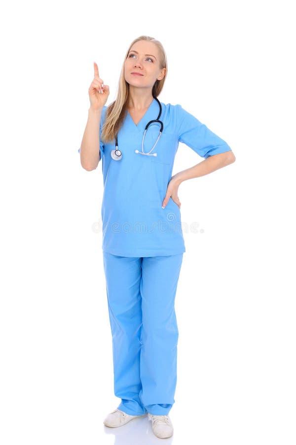 医生妇女或护士被隔绝在白色背景 快乐的微笑的医护人员代表 r 库存照片