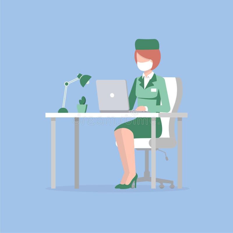 医生妇女桌膝上型计算机 皇族释放例证