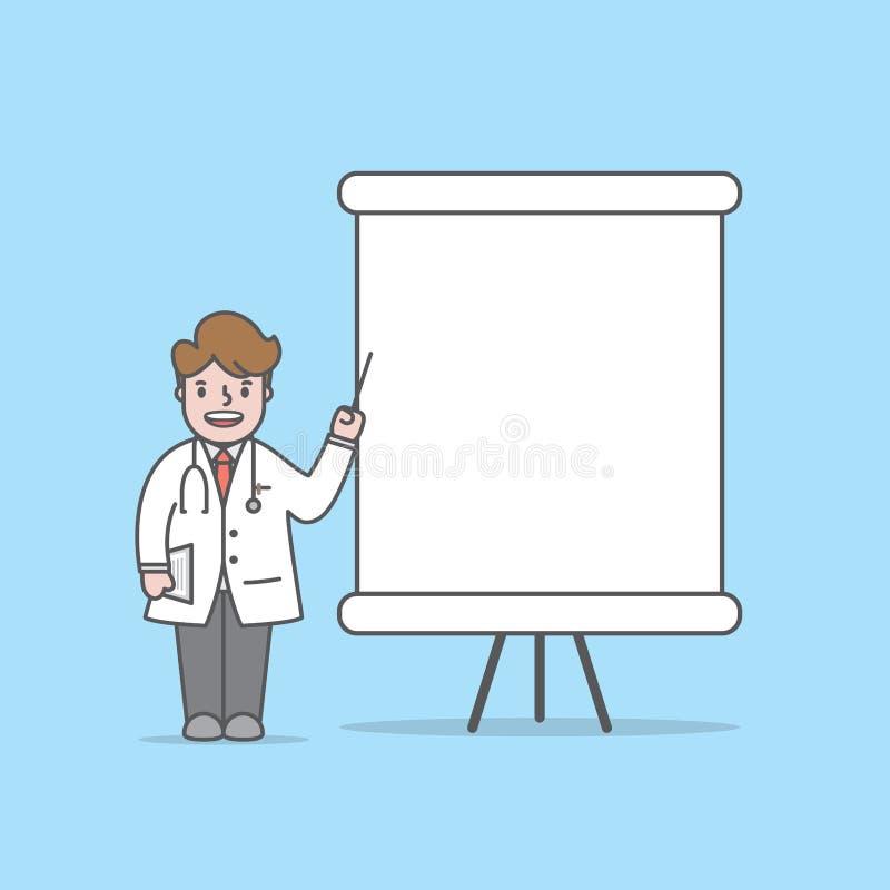 医生字符演讲与whiteboard正文框在蓝色背景的例证传染媒介 掠过的概念牙齿孩子牙向量 库存例证
