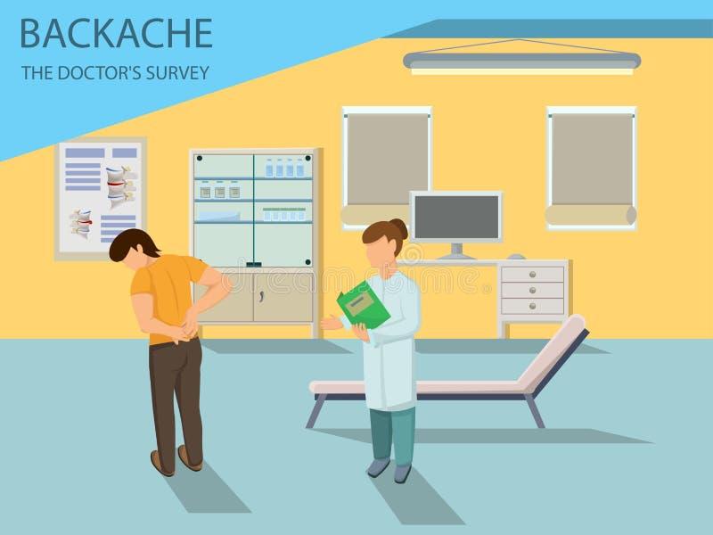 医生审查有背部疼痛的病人 向量 皇族释放例证
