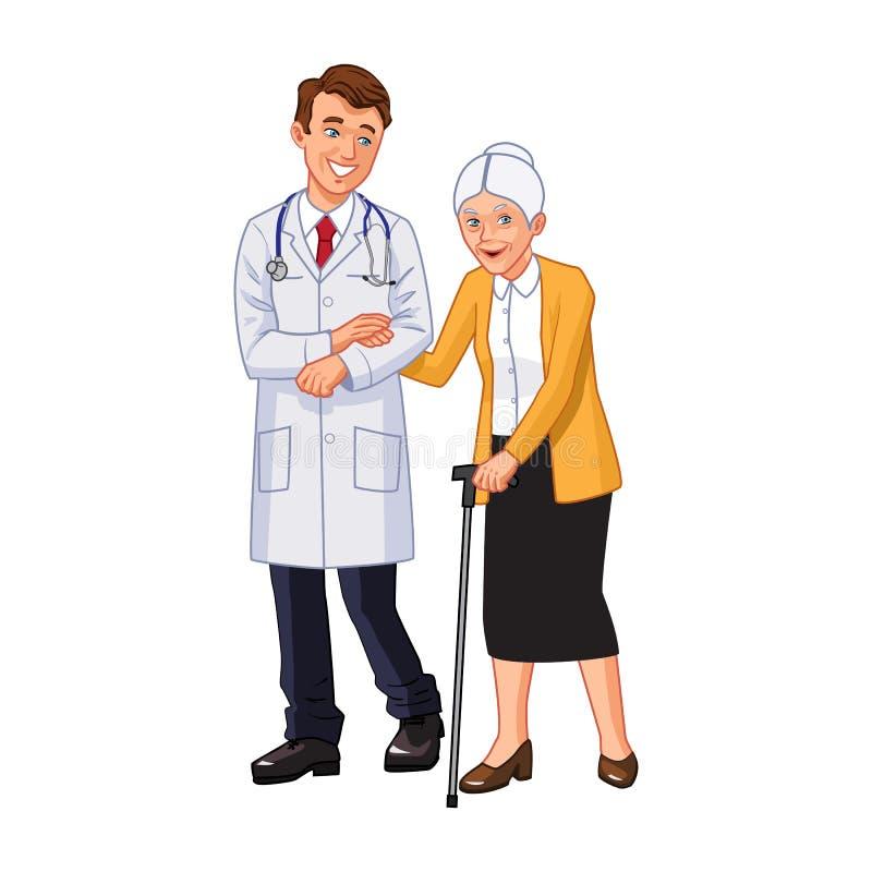 医生年长妇女帮助 皇族释放例证