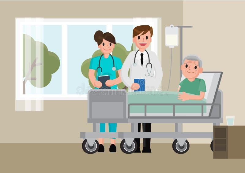 医生拜访说谎在医院病床上的一名患者 休息在床上的老人 向量例证