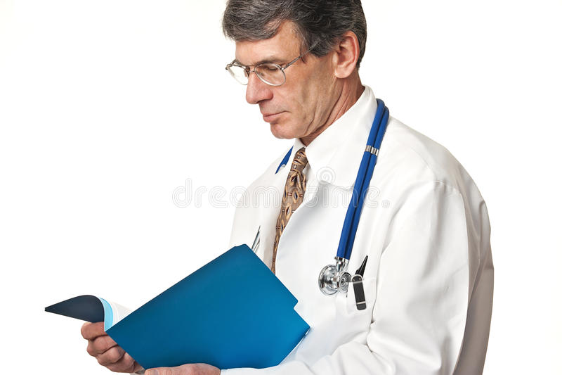 医生文件读取 免版税库存照片