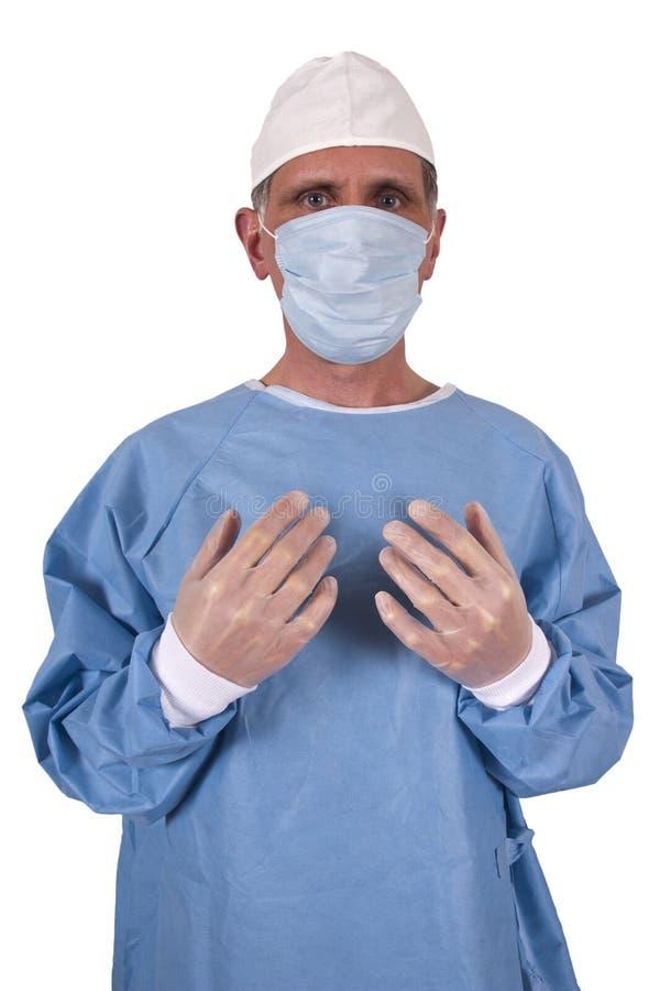 医生查出医疗运行严重的外科医生 免版税库存照片