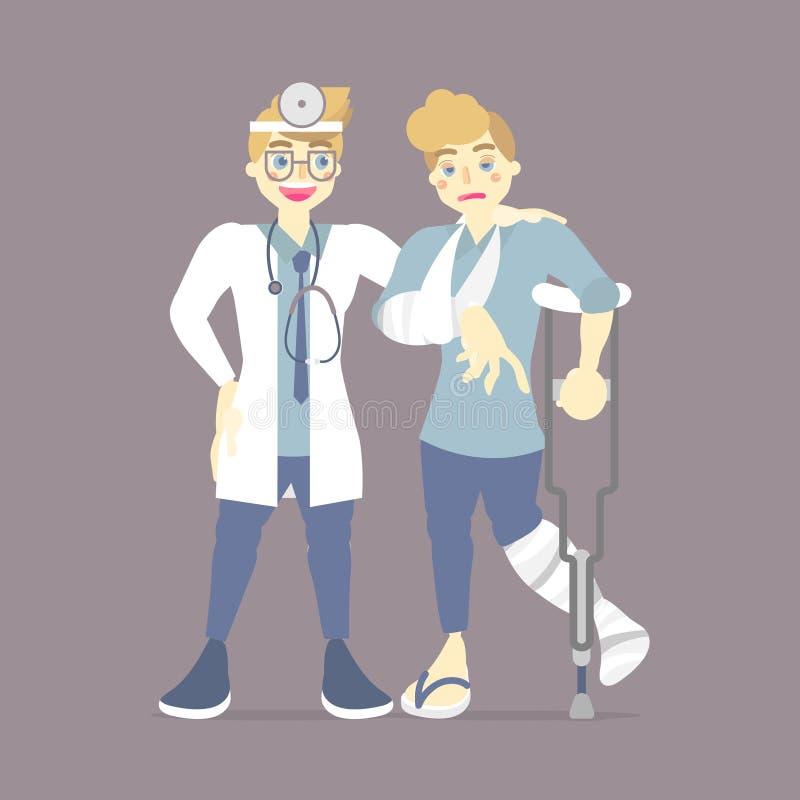 医生检查,关心患者与在断腿和肱骨藏品拐杖的塑象,走的助手,医疗保健概念 向量例证