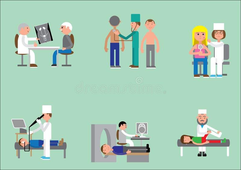 医生治疗和审查患者 向量例证