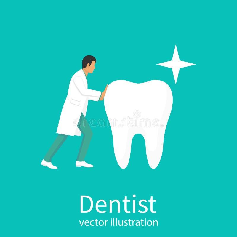 医生牙医举行大健康干净的白色牙 皇族释放例证