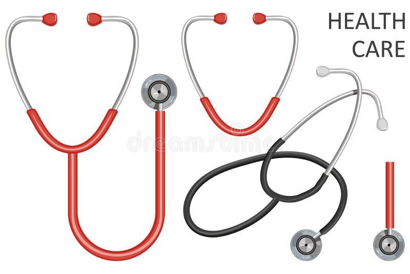 医生的听诊器,在白色背景隔绝的听诊器平的象,网的传染媒介例证和机动性, 库存例证