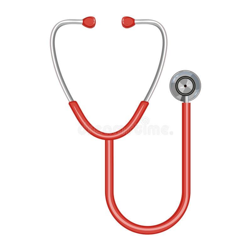 医生的听诊器,在白色背景隔绝的听诊器平的象,网的传染媒介例证和流动, stethoscop 库存例证