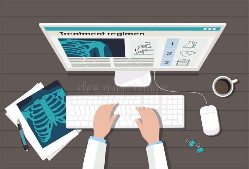 医生的桌工作场所 概念谎言医学货币集合听诊器 X-射线肺、计算机和笔 库存例证