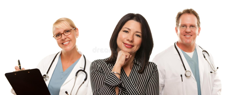 医生西班牙男性护士妇女 免版税库存图片