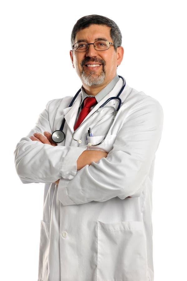 医生讲西班牙语的美国人 库存图片