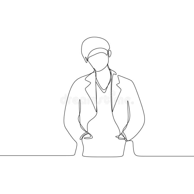 医生连续的一线描唯一手拉的最低纲领派设计画象  向量例证
