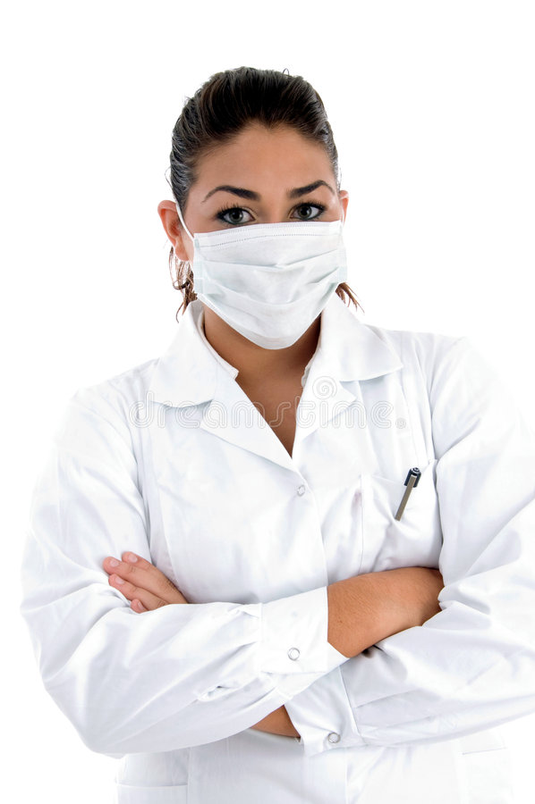 医生面对她的屏蔽 免版税图库摄影