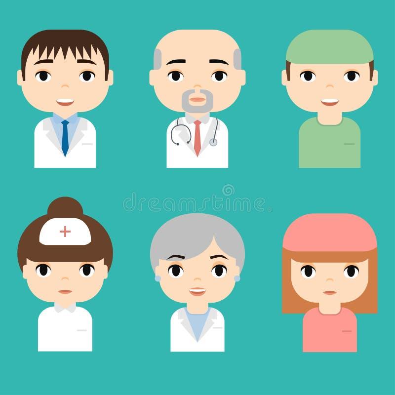 医疗人员 专业医生和护士具体化 医疗队概念 人漫画人物象 库存例证