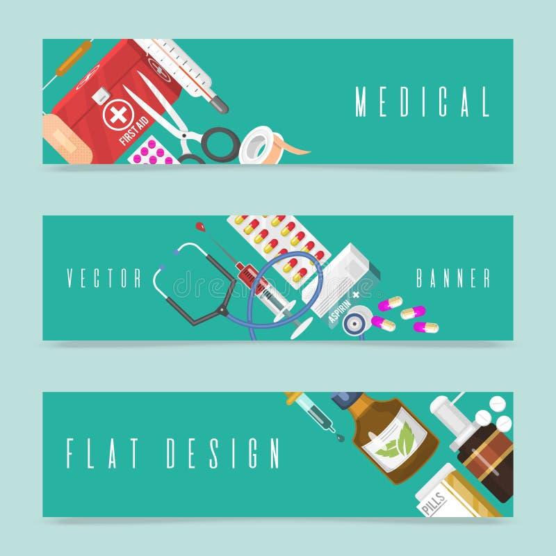医疗仪器套横幅 急救集合成套装备医药箱和医生工具药剂 疗程医院 向量例证