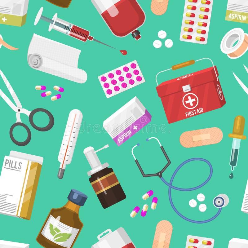 医疗仪器篡改工具在动画片样式疗程医院健康无缝的样式的传染媒介药剂 向量例证