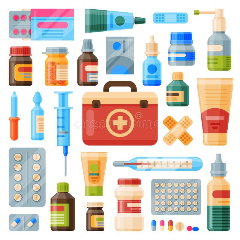 医疗仪器紧急救护集合成套装备医药箱和医生工具平的药剂疗程医院健康 库存例证