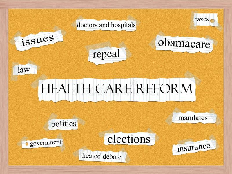 医疗保健改革Corkboard字概念 向量例证