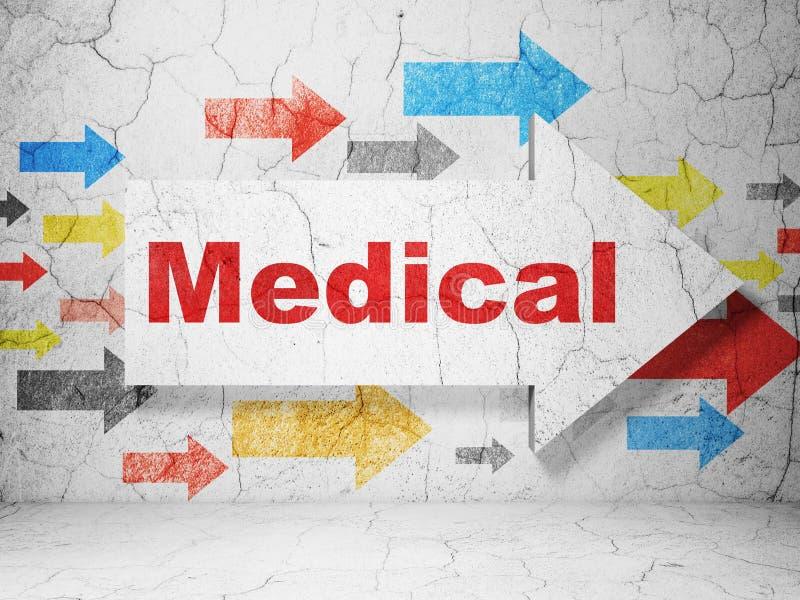 医疗保健概念:与医疗的箭头在难看的东西墙壁背景 图库摄影