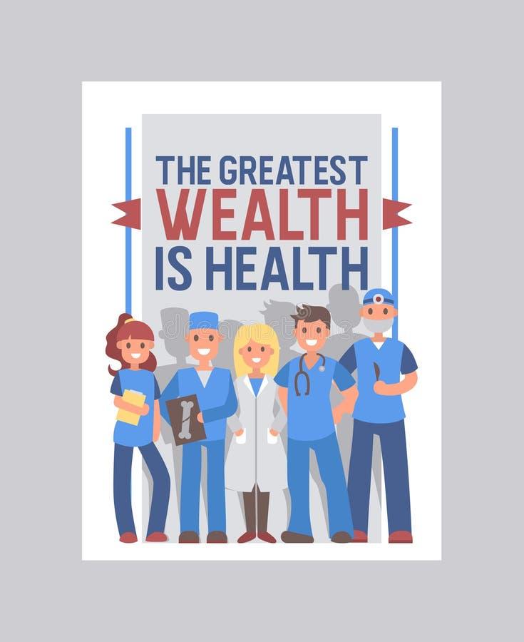 医疗保健盖子传染媒介设计 与医疗保健口号的医疗小册子 举行医生的卡通人物微笑和 皇族释放例证
