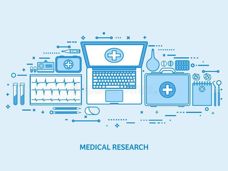 医疗保健,急救,心脏病学研究 医学研究和化学工程,药房 平的蓝色概述 向量例证