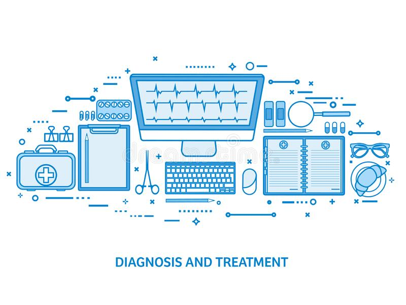 医疗保健,急救,心脏病学研究 医学研究和化学工程,药房 平的蓝色概述 皇族释放例证