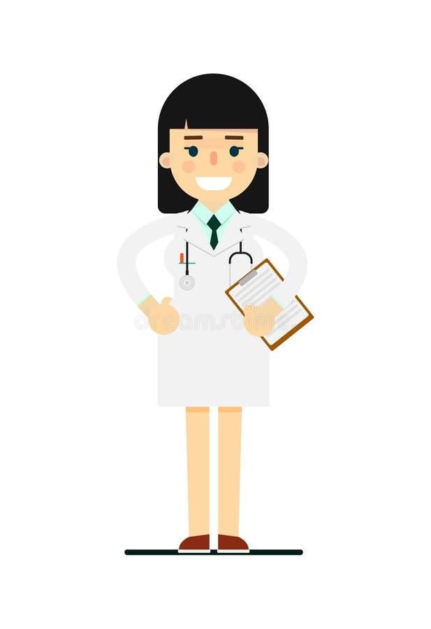 医疗制服的友好的年轻药剂师 向量例证