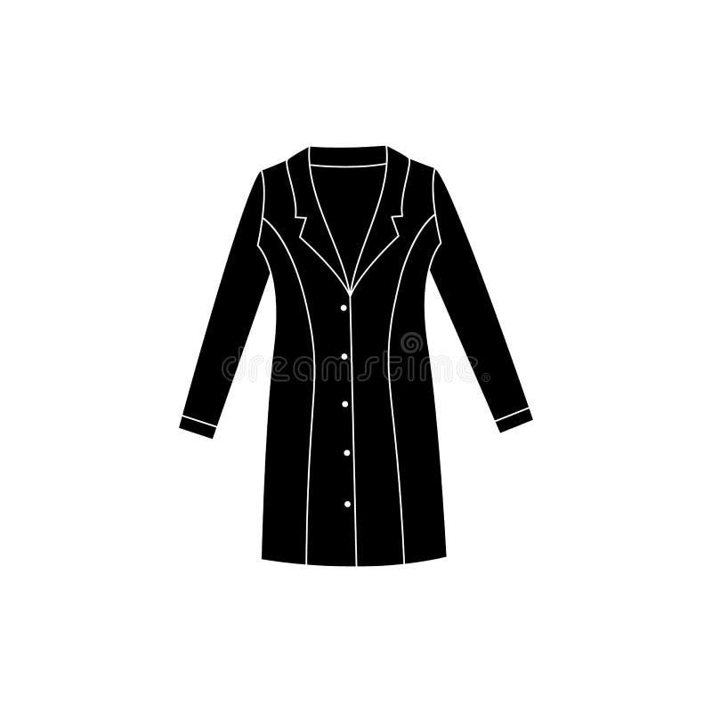 医疗化工实验室保护或手术晨衣黑色象 库存例证