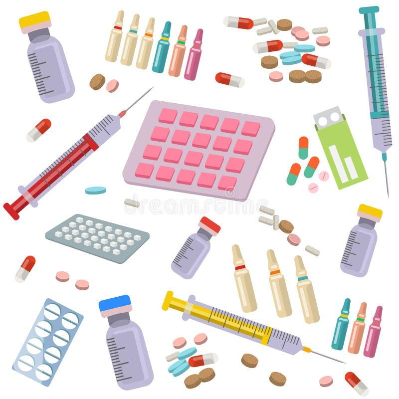 医疗医疗保健象导航无缝的样式 医疗保健标志汇集 医学设备,药片,注射器 向量例证