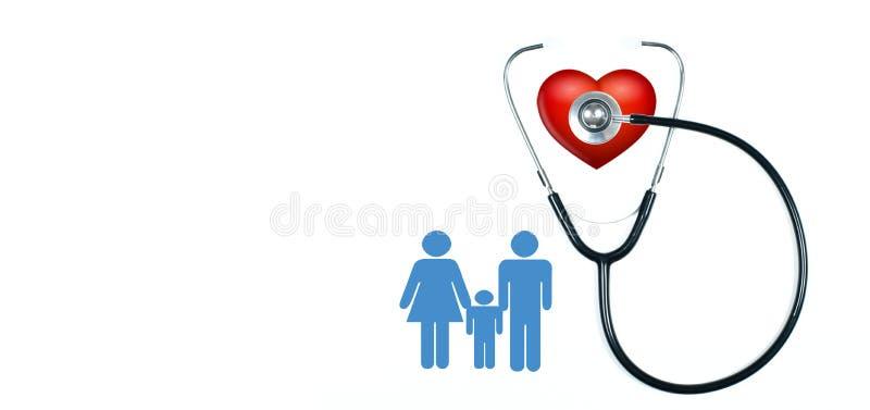 医疗听诊器和红色心脏在白色背景