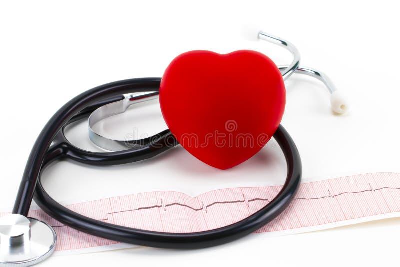 医疗听诊器和红色说谎在心电图图的玩具心脏 免版税库存图片