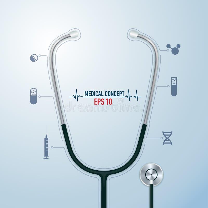 医疗听诊器 向量例证