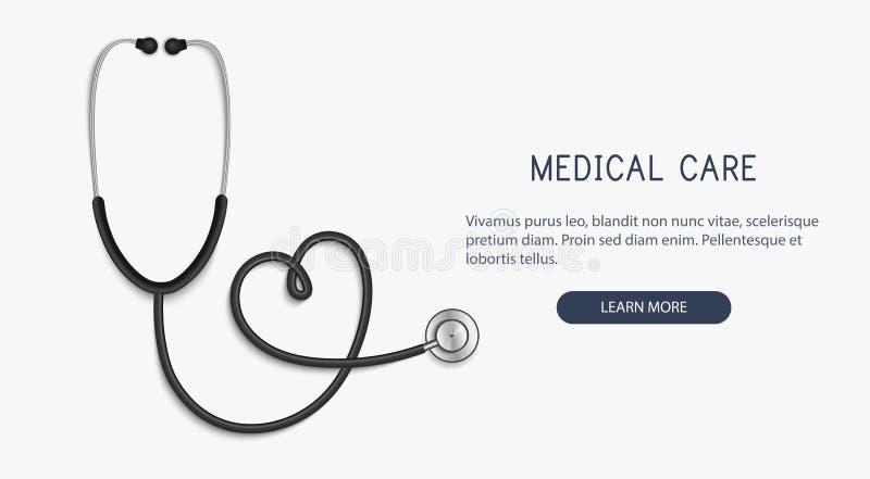 医疗和医疗保健概念,听诊器心脏形状 向量 库存例证