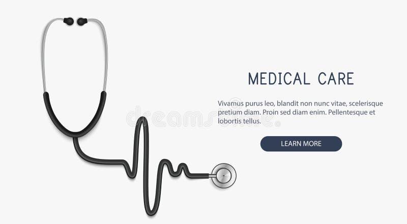 医疗和医疗保健概念,听诊器,心电图 向量 皇族释放例证