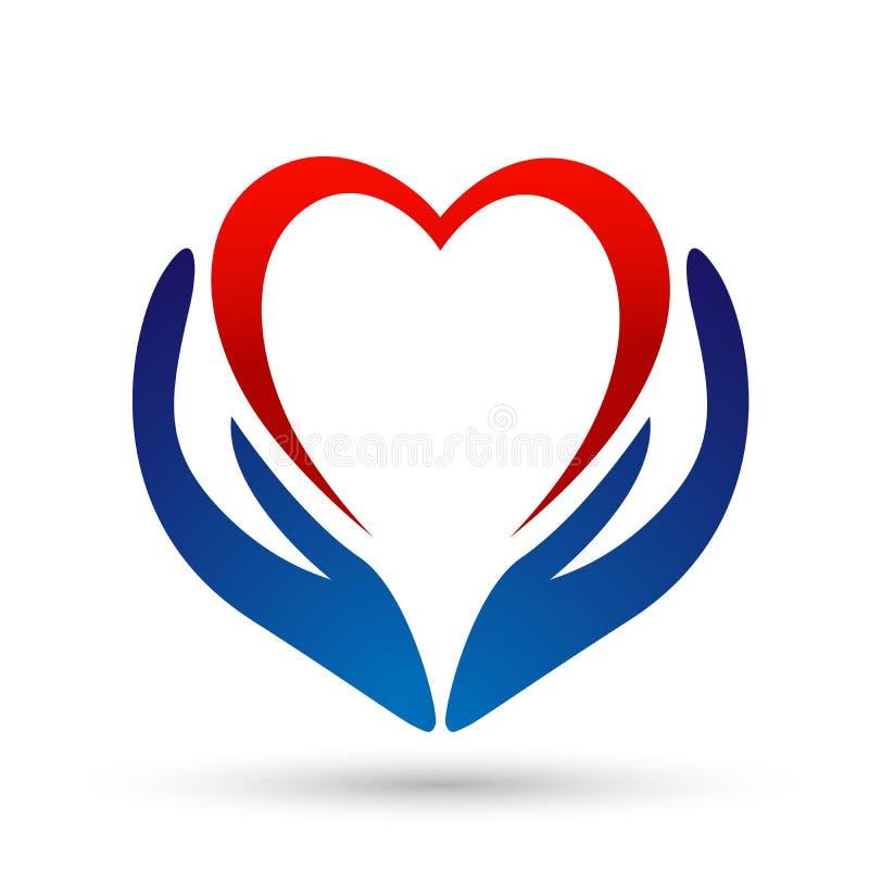 医疗在白色背景的健康心脏关心诊所人民健康生活关心商标设计象 皇族释放例证