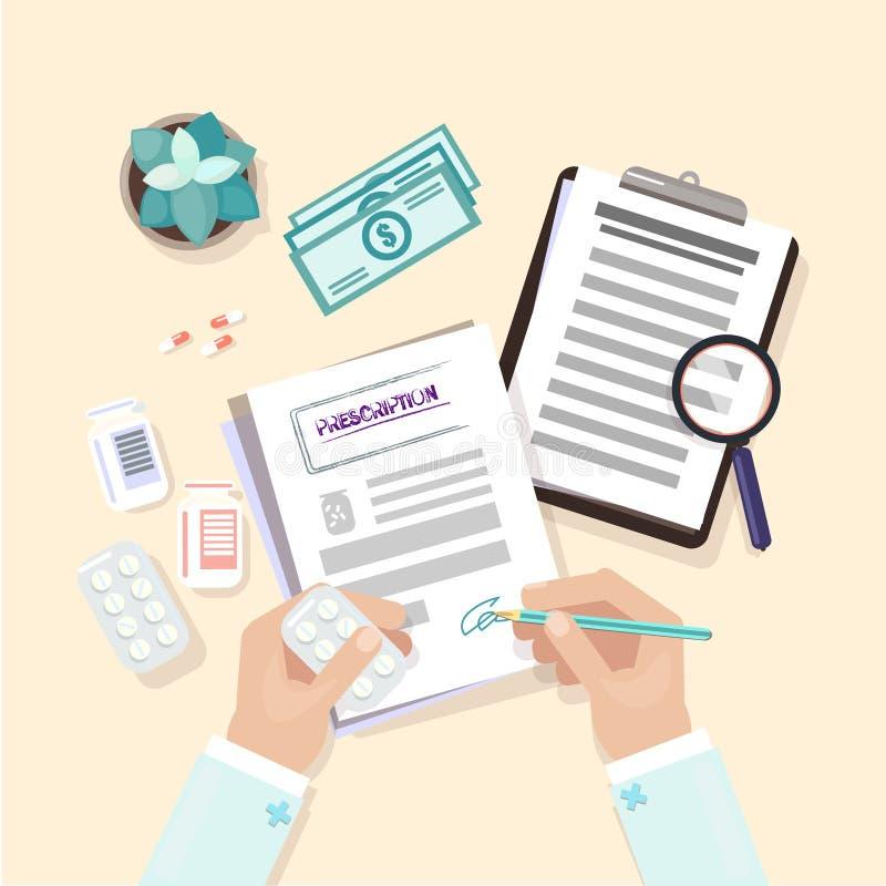 医疗工作场所 在桌上的手 医生工作在桌上 向量例证