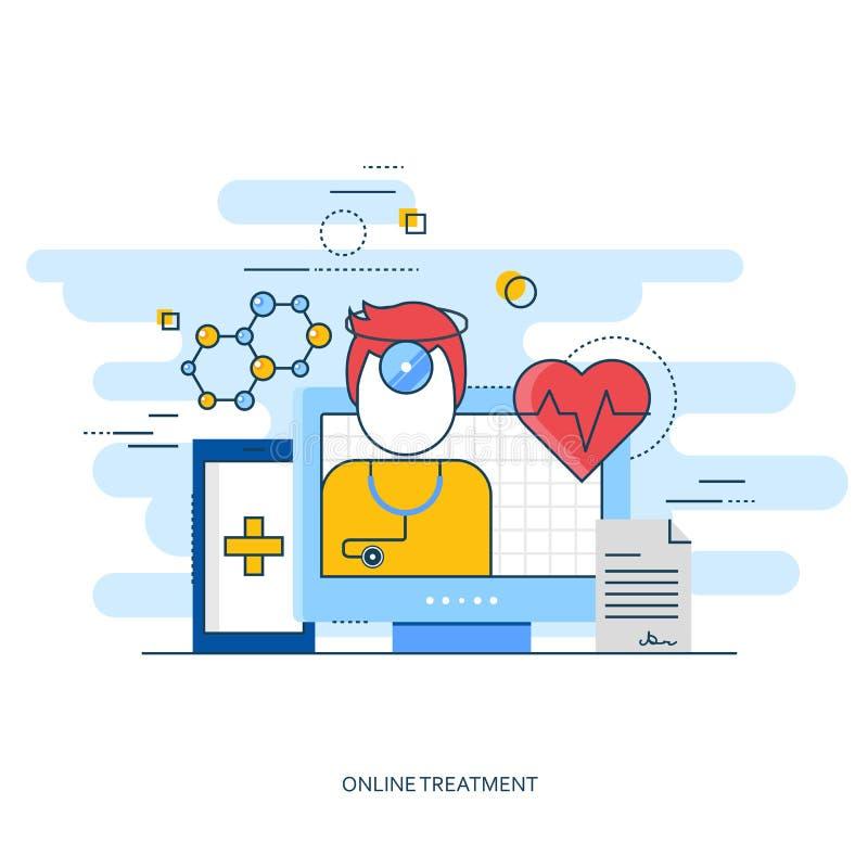 医疗平的设计和药房 在线治疗 在线医生 流动智能手机或网的现代模板 皇族释放例证