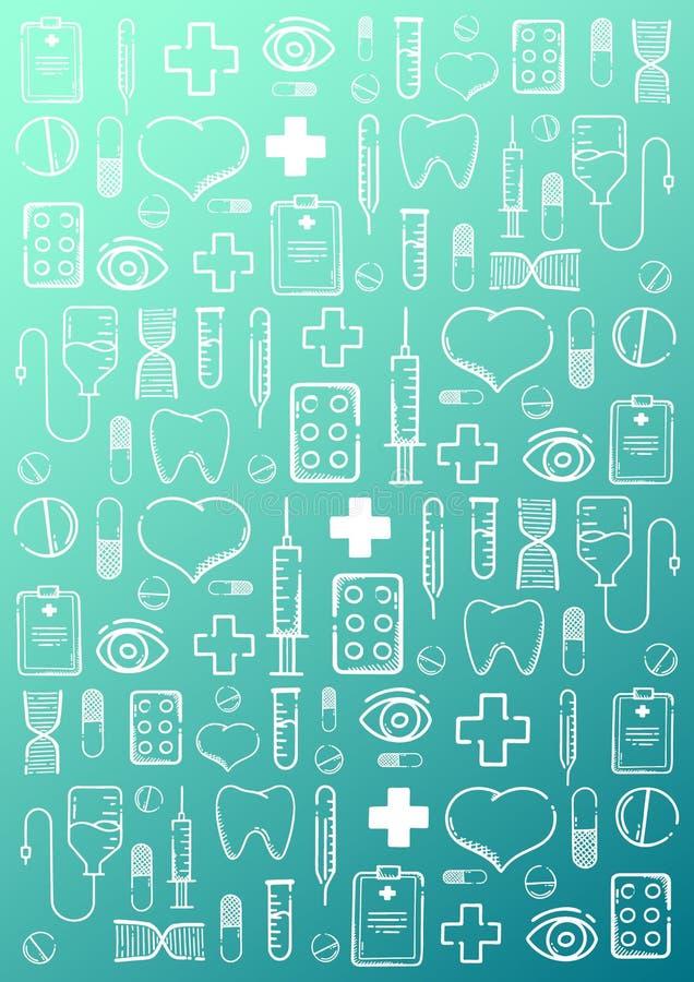医疗手凹道乱画背景 药片,维生素片剂,医疗药物 r 皇族释放例证