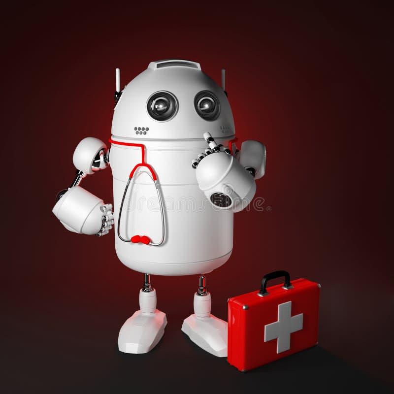 医疗机器人。 计算机维修服务概念 向量例证