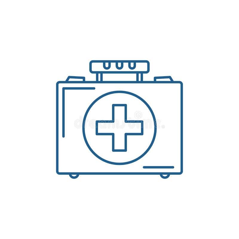 医疗案件线象概念 医疗案件平的传染媒介标志,标志,概述例证 向量例证